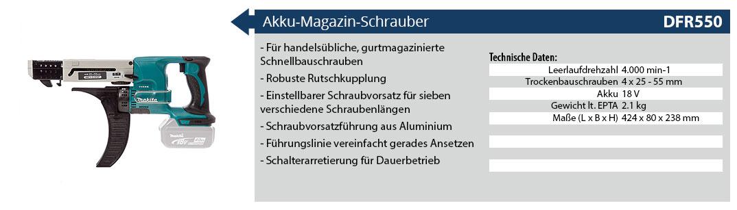Makita 18V Akku Magazinschrauber DFR550