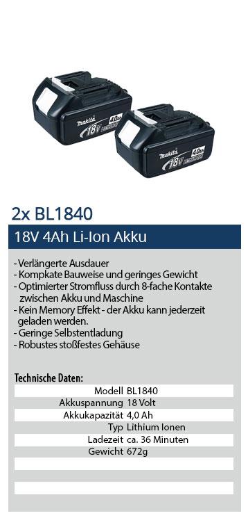 Makita BL1840 Li-Ion Akkus