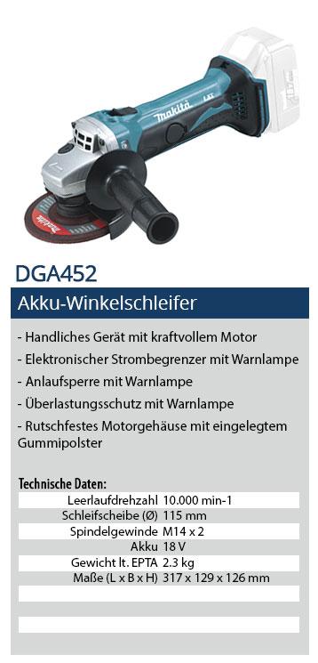 Makita DGA452 Akku Winkelschleifer