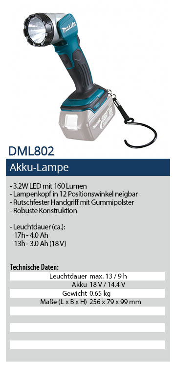 Makita DML802 LED Akku Lampe