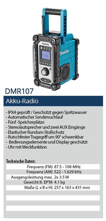 Makita DMR107 Akku Baustellenradio