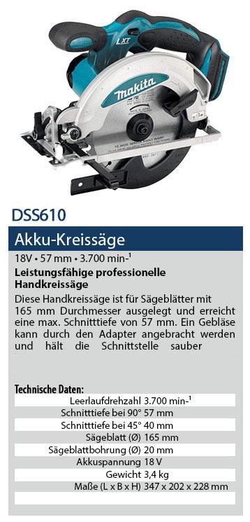 DSS610 Akku Handkreissäge
