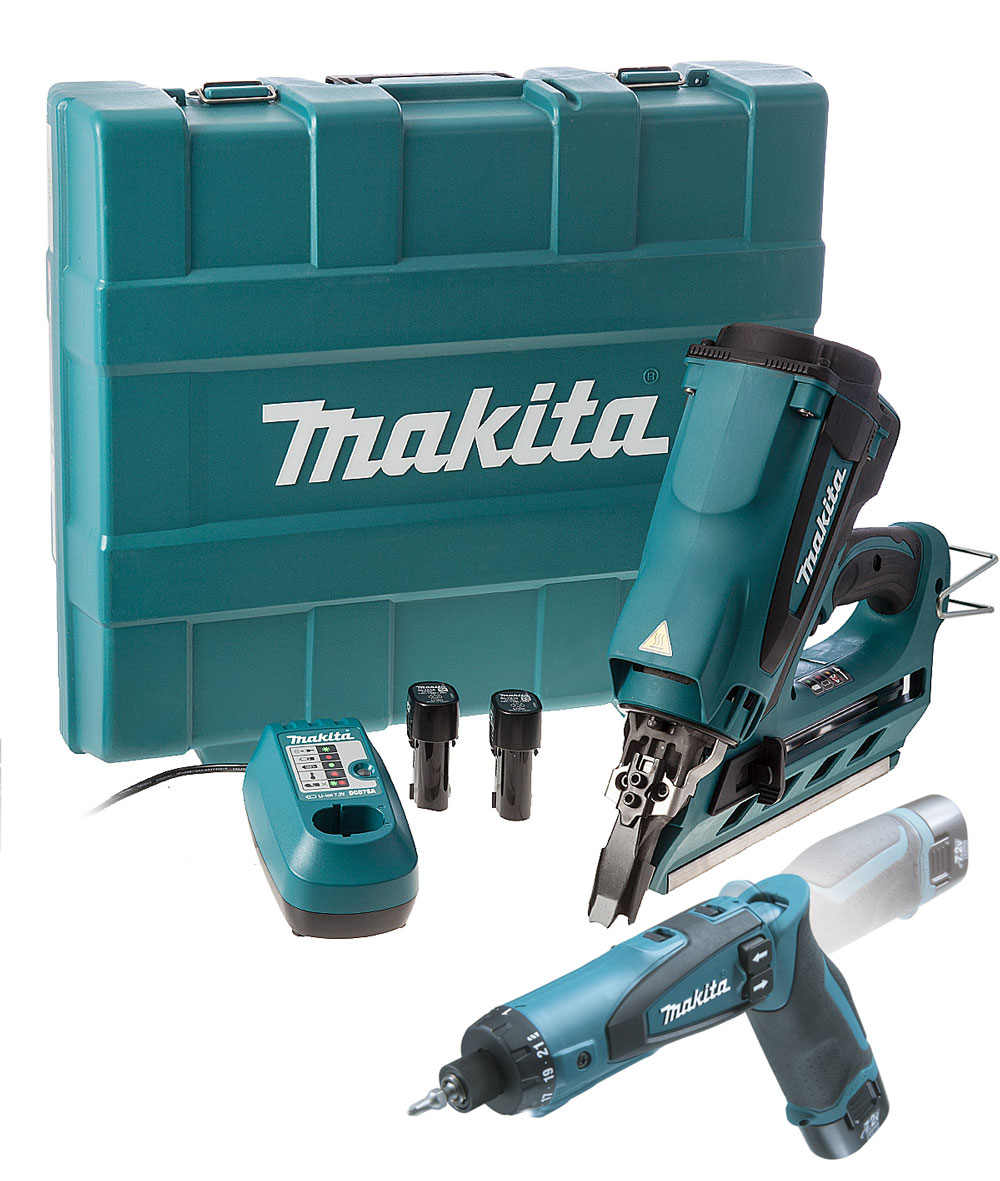 makita gasdrucknagler gn900se gas akku nagel tacker set 7 2v li ion ebay. Black Bedroom Furniture Sets. Home Design Ideas