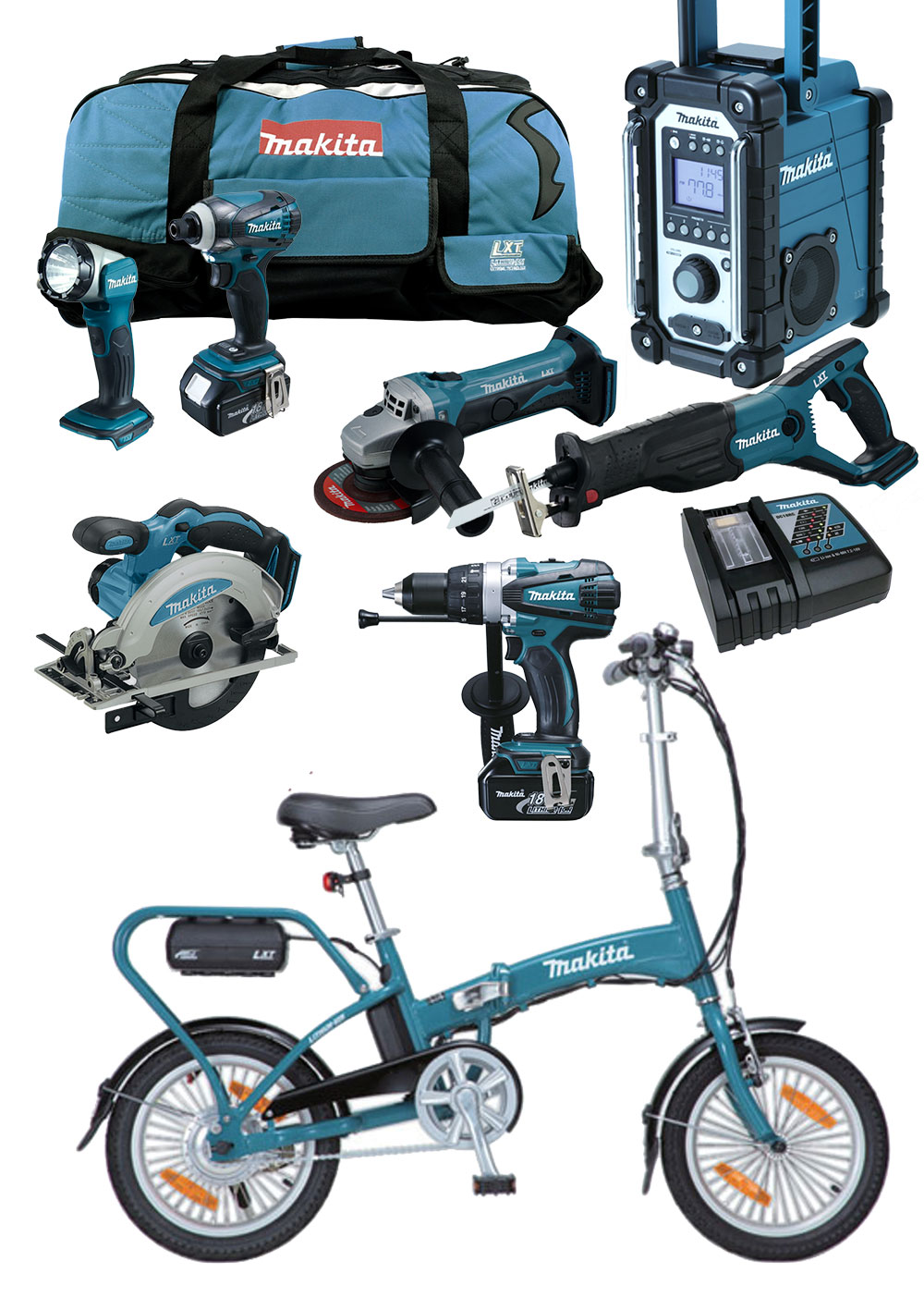 makita 18v profi akku werkzeug set bby180 z elektro klapp fahrrad ebike pedelec ebay. Black Bedroom Furniture Sets. Home Design Ideas