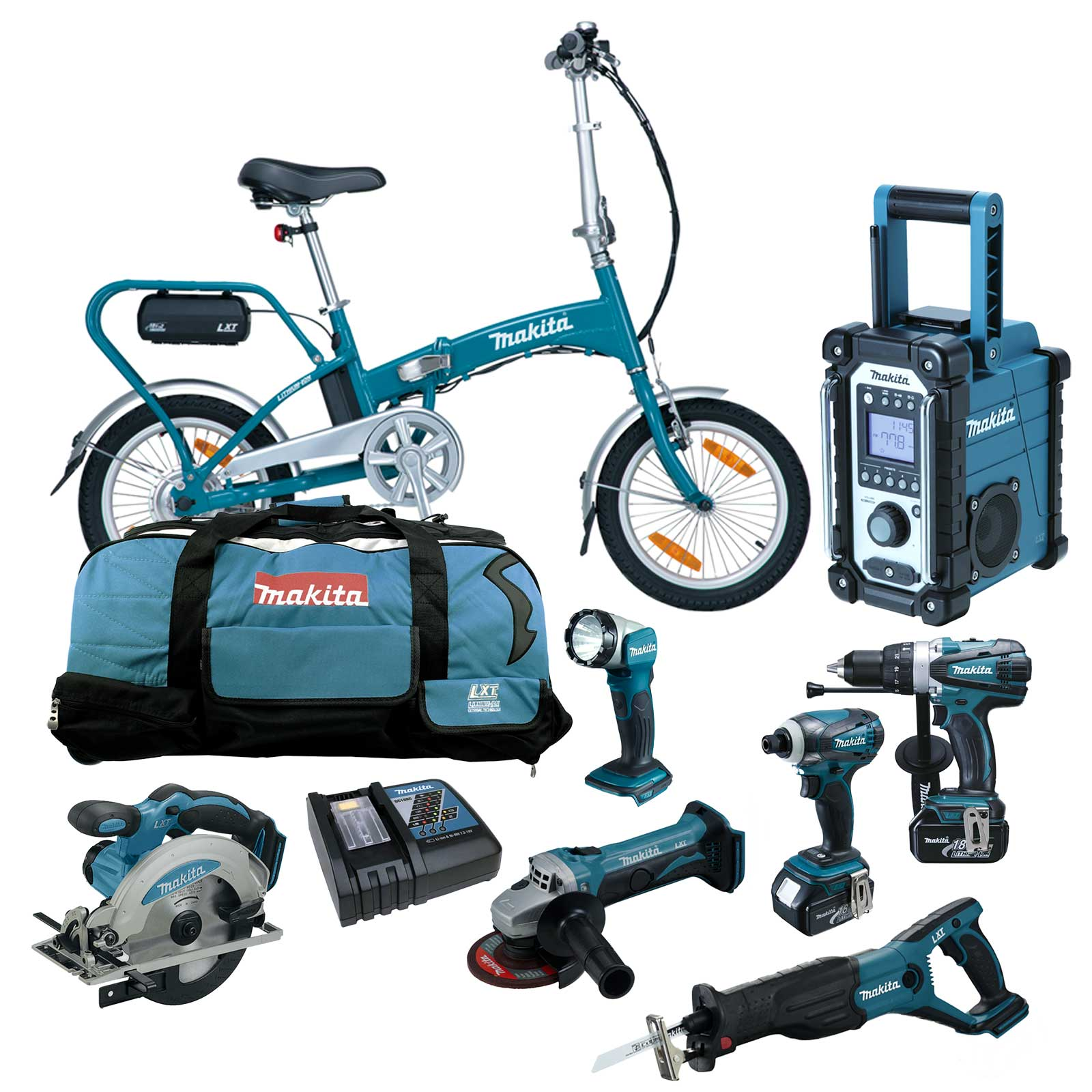 12tlg makita 18v profi akku werkzeug set dby180 elektrofahrrad ebike rfe rmj ebay. Black Bedroom Furniture Sets. Home Design Ideas