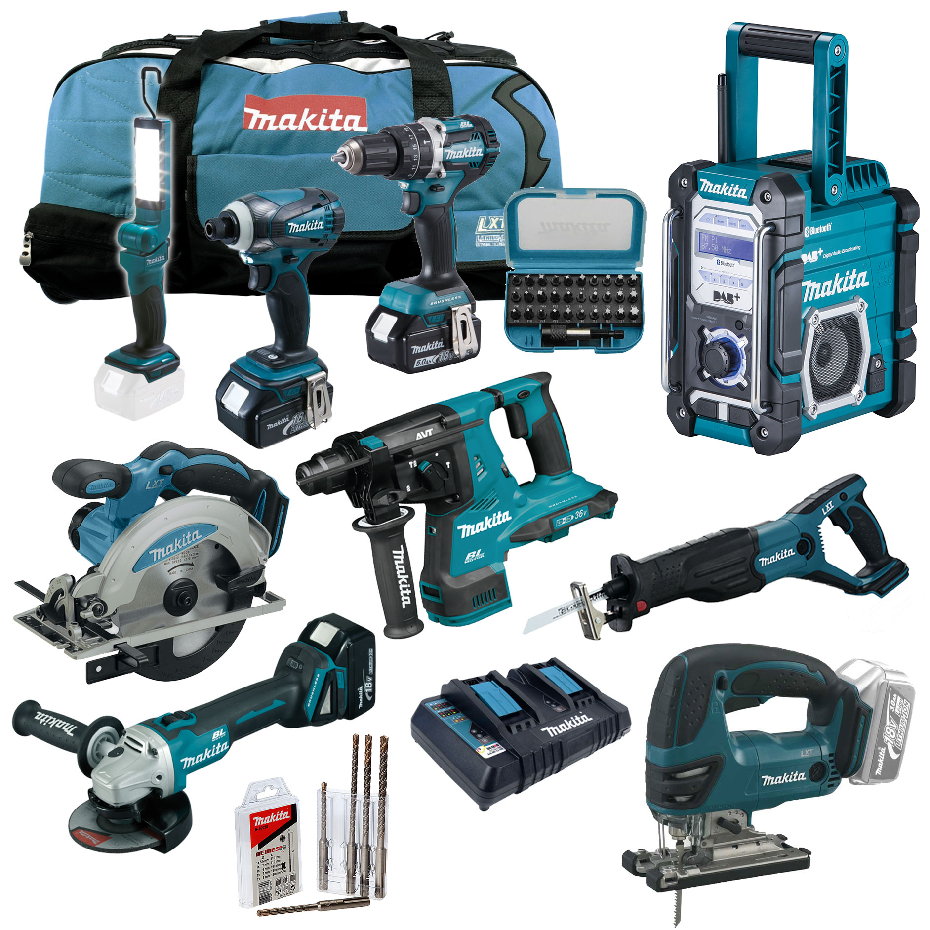 makita 18v akku werkzeug mega set dhr280 zj 36v bohrhammer. Black Bedroom Furniture Sets. Home Design Ideas