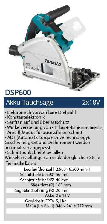 Akku Set DVC864 Staubsauger im 13tlg 140cm FS MAKITA DSP600 PT2J1 Tauchsäge