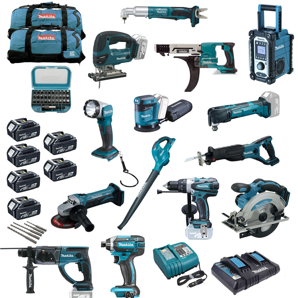 makita 18v akku werkzeug mega set xxl 20tlg combo kit maschinen ger te 6xbl1850 ebay. Black Bedroom Furniture Sets. Home Design Ideas