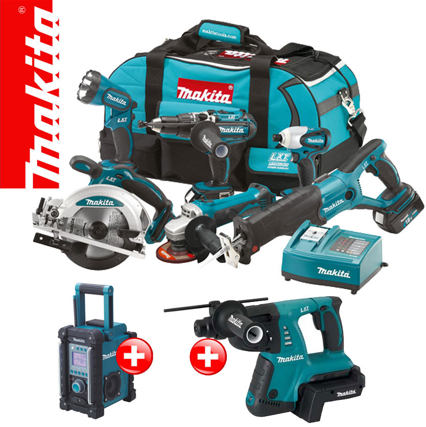 makita lxt 18v akku werkzeug set bmr100 bhr261 36v kombihammer bvc02 adapter ebay. Black Bedroom Furniture Sets. Home Design Ideas